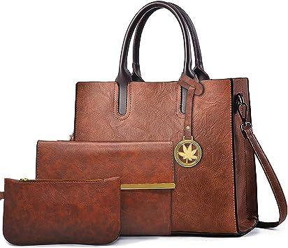 BestoU Damen Handtasche Schwarz Gross Leder Groß Tasche