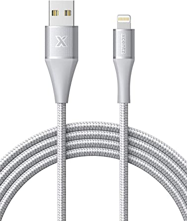 Xcentz iPhone Charger 6ft, MFi Certified iPad Charger Lightning Cable Braided Nylon Charging iPhone Cable with Premium Metal Connector for iPhone ...