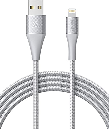 Xcentz iPhone Charger 6ft, Apple MFi Certified iPad Charger Lightning Cable Braided Nylon Charging iPhone Cable with Premium Metal Connector for ...