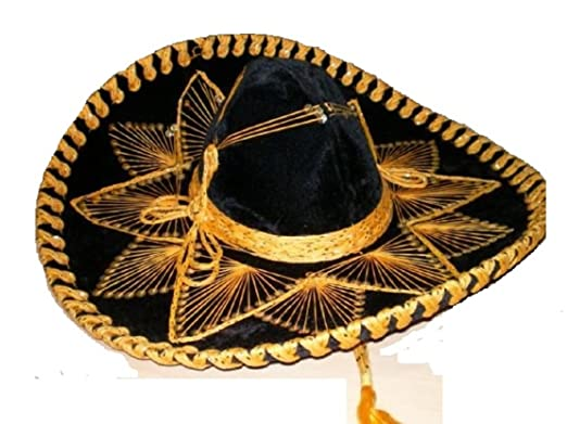 Amazon.com  Black and Gold Mariachi Sombrero  Clothing be8b3938826