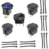 GENSSI Rocker Toggle LED Switch Blue Light On-off Control 12V with Wires Car Truck Boat (5 Pack)