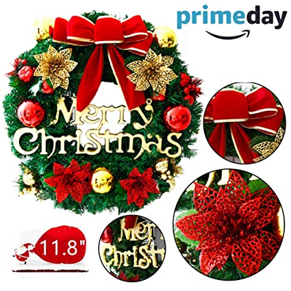 mannice large christmas wreath front door wall windows artificial poinsettia xmas decorationred bowknot 118 - Large Christmas Wreath