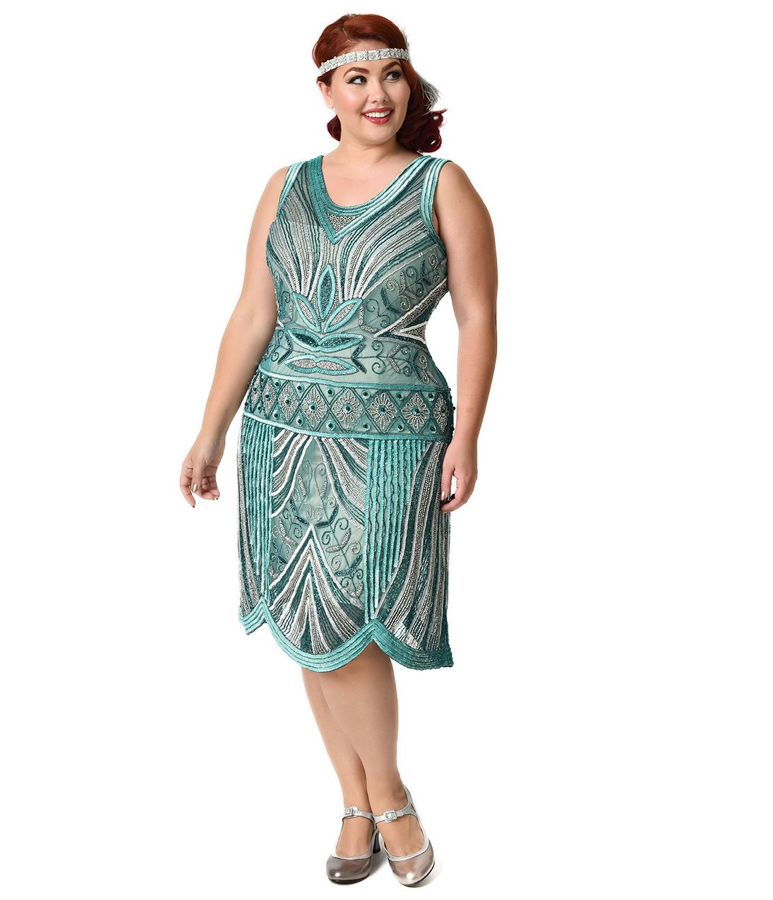 Unique Vintage Plus Size 1920s Style Teal & Silver Deco Beaded Caspian Flapper Dress by Unique Vintage