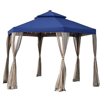 66a8987083c5 Amazon.com : Garden Winds Replacement Canopy for The Hampton Bay Solar  Hexagon Gazebo - Riplock 350 - True Navy : Garden & Outdoor
