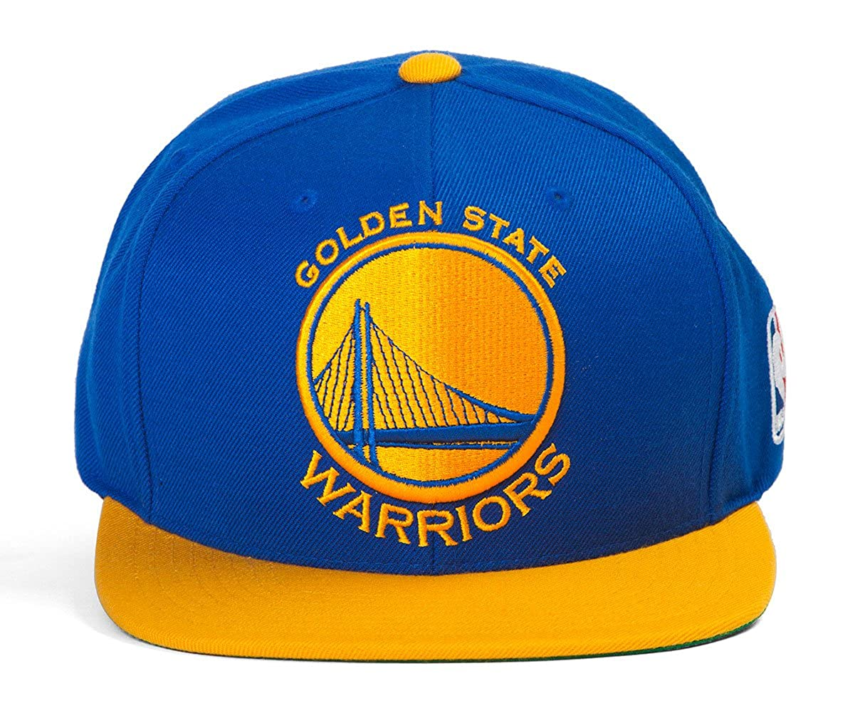 6b87416f5f6a1 Amazon.com  Golden State Warriors Blue Gold Mitchell   Ness XL Logo  Snapback Hat   Cap  Clothing