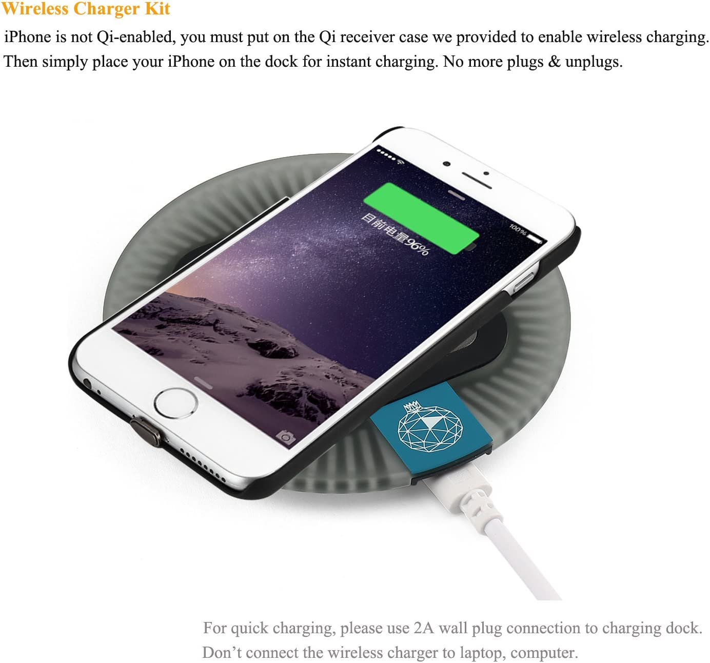 Sleep-Friendly Qi Wireless Charger Kit Compatible for iPhone 6 // iPhone 6S Wireless Charging Pad Mat Including Wireless Charging Receiver Case and Blue//White