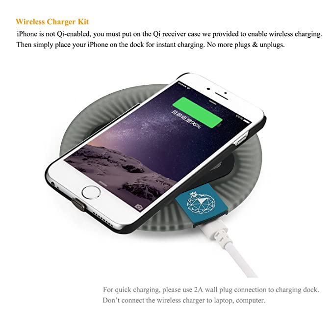 Antye Qi Wireless Charger for iPhone 6 Plus / 6S Plus, Including Wireless Charging Receiver Case and (Sleep-Friendly) Wireless Charging Pad, Black