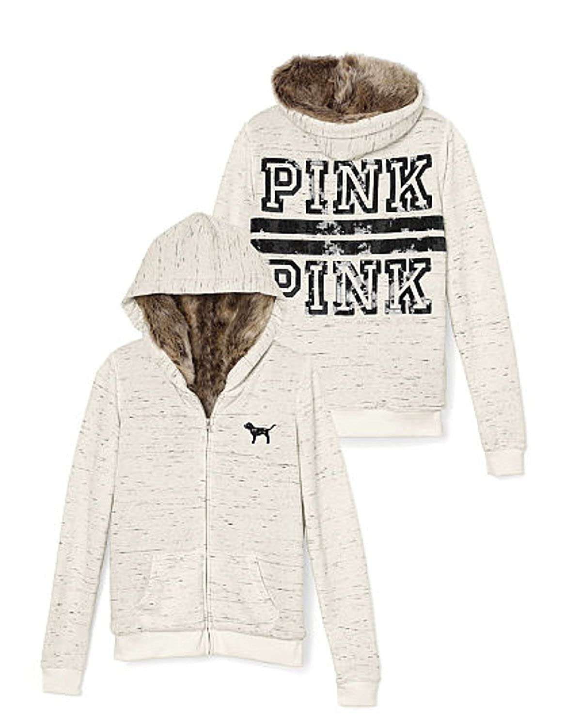 Victoria's Secret Women's PINK Full-Zip Faux Fur Hoodie Bling logo ...