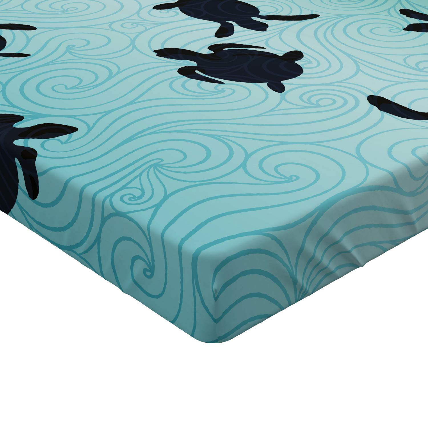 Ambesonne Geography Fitted Sheet Soft Decorative Fabric Bedding All-Round Elastic Pocket Sky Blue Twin Size Guide World Map Animals Living Places Kids Discovery Safari Earth