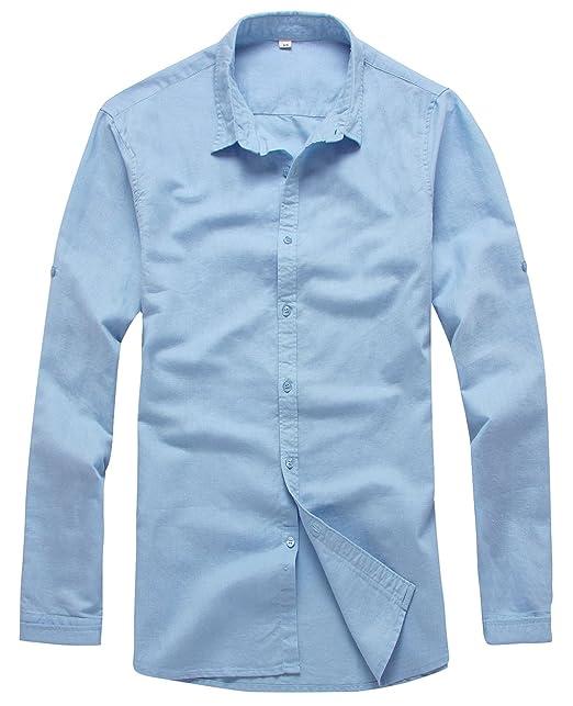 fa76db5e38 utcoco Men s Essential Collared Long Sleeve Hemp Button Up Casual Shirts  (X-Small