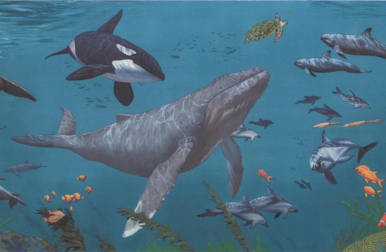 Sharks Whales Underwater Nature Aegean Blue Wallpaper Border Retro