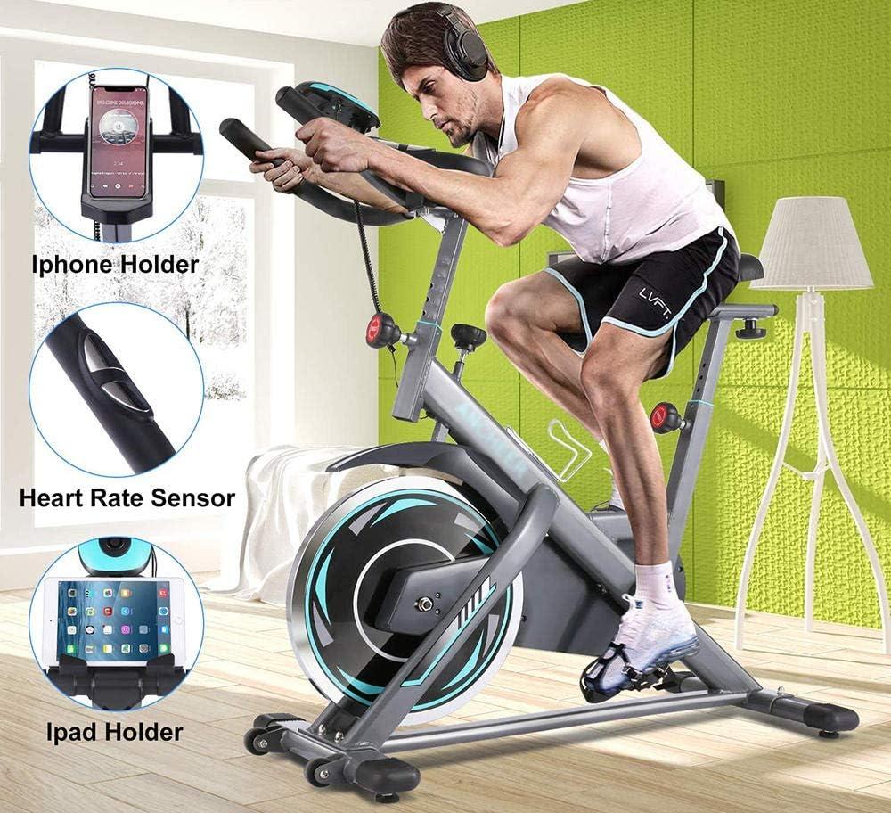 Bicicleta estática de ciclismo interior con monitor de frecuencia cardíaca y monitor LCD, cómodo cojín de asiento, bicicleta cardiovascular, con múltiples empuñaduras: Amazon.es: Deportes y aire libre