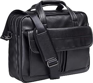 Men's Leather Messenger Bag, 15.6 Inches Laptop Briefcase Business Satchel Computer Handbag Shoulder Bag for Men (Black)