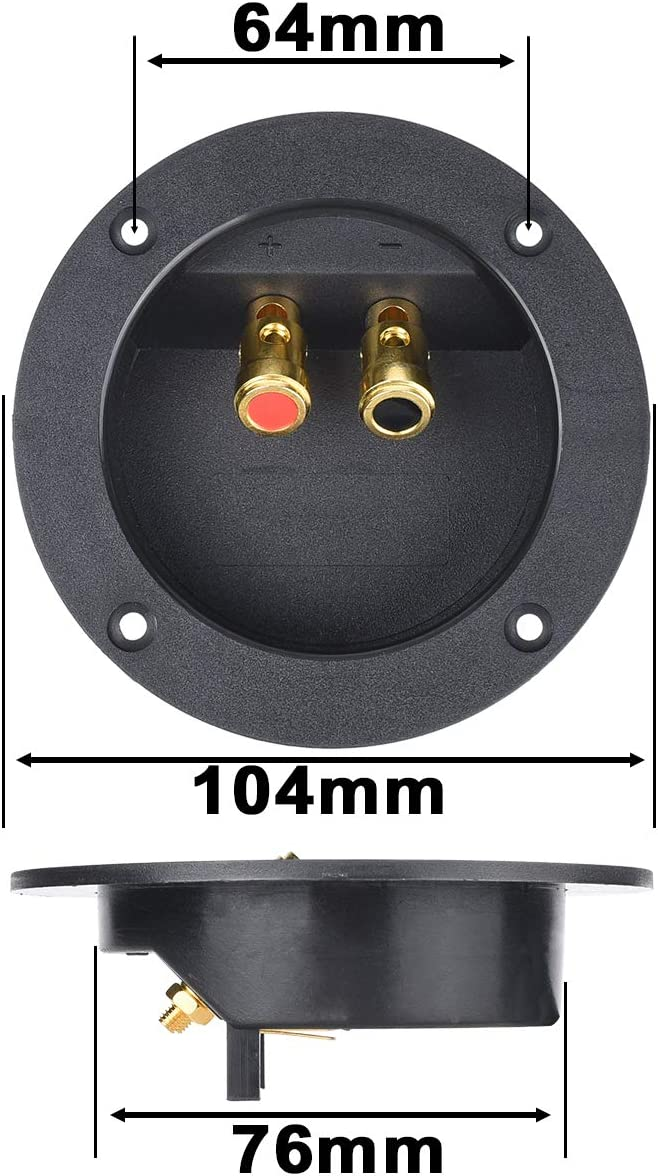 Bluecell 1 Pair Double Binding Round Gold Plate Push Spring Loaded Jacks Speaker Box Terminal Cup 4.25/'/'