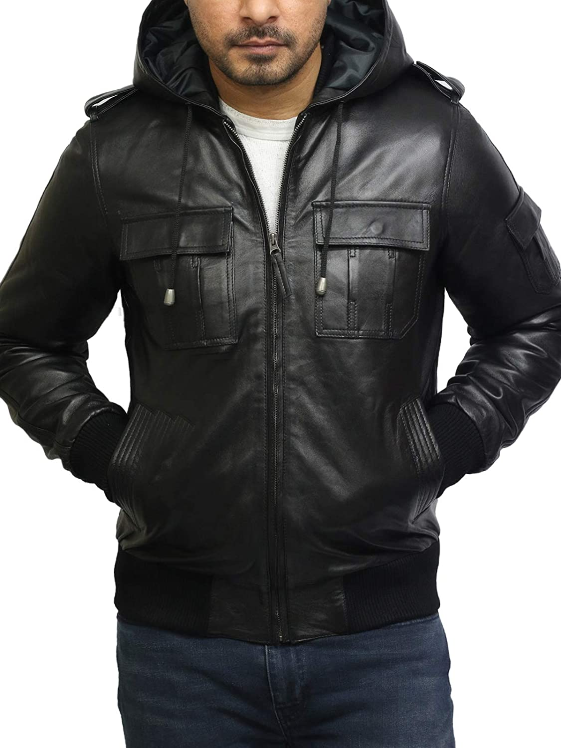 Black Leather Jacket Mens Cafe Racer Real Lambskin Leather Distressed Motorcycle Jacket
