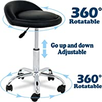 SUPER DEAL Adjustable Height Hydraulic Rolling Swivel Stool Tattoo Facial Massage Spa Salon Medical Stool with Back Rest