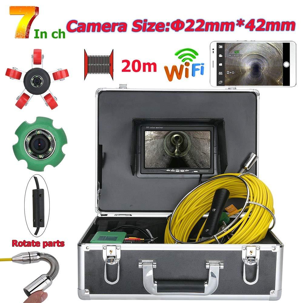 7インチ22 mm WiFiワイヤレスDVRパイプ検査ビデオカメラ、20 M IP 68防水排水管下水道検査カメラシステム 40M