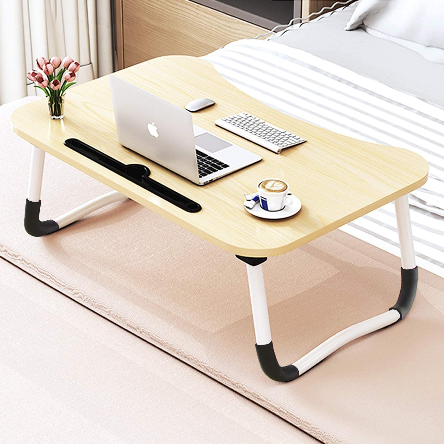 Laptop Desk, Sereey Portable Laptop Bed Tray Table Notebook Stand Reading Holder with Foldable Legs & Cup Slot for Eating Breakfast, Reading Book, Watching Movie on Bed/Couch/Sofa