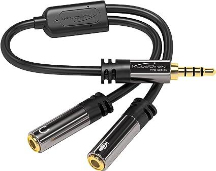 PC Handy 3,5mm Stereo Audio Außen zu Innen Kopfset Mikrophone Adapter Schwarz