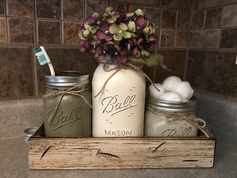 4 PIECE RUSTIC MASON JAR BATHROOM SET WITH TRAY