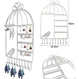 JJOnlineStore - Bird Cage Design Wall Mount Jewelry Hanger Hanging Earring Necklace Jewelry Display Organizer Stand Rack (White)