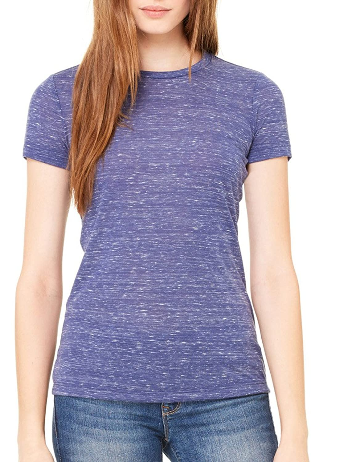 Bella + Canvas Womens Poly-Cotton Short-Sleeve T-Shirt (6650) NAVY MARBLE