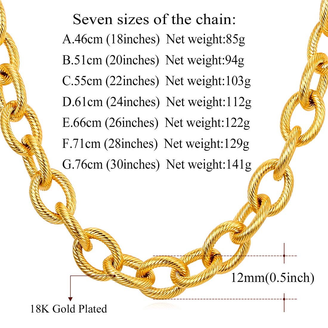 Stainlee Steel Men//Women Jewelry Circle Link Chain Necklace U7 Twist The Coil Rolo O Chain Necklace Gold//Black Plated 18//20//22//24//26//28//30 Length 4MM//6MM//12MM Width