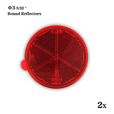 MFC PRO 2Pcs 3.14 Inch Round Warning Reflectors for Car Truck Bike Boat Trailer Van Lorry Bus Caravan (Red, 80MM / Adhesive): Automotive