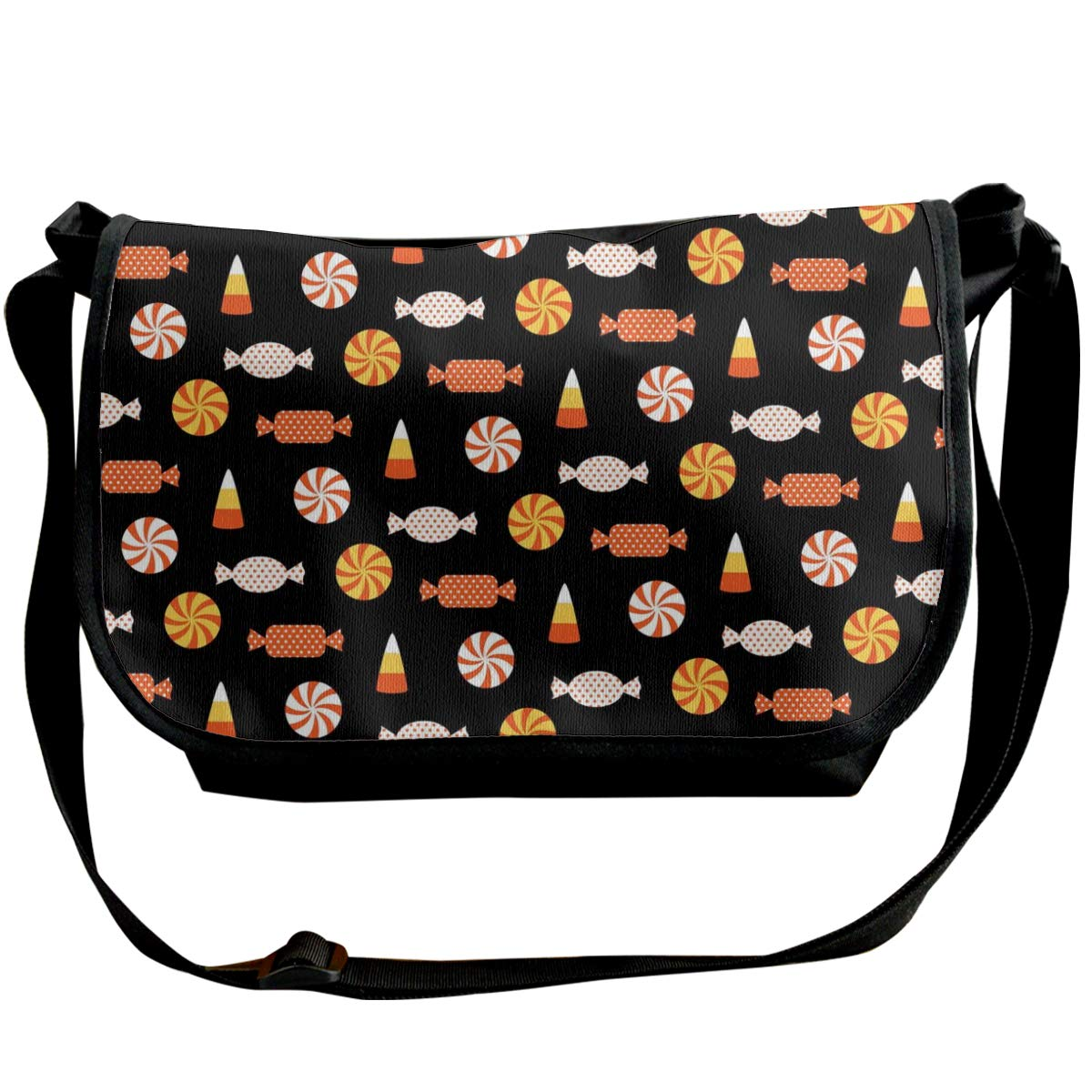 Taslilye Halloween Candy Vector Image Customized Wide Crossbody Shoulder Bag For Men And Women For Daily Work Or Travel
