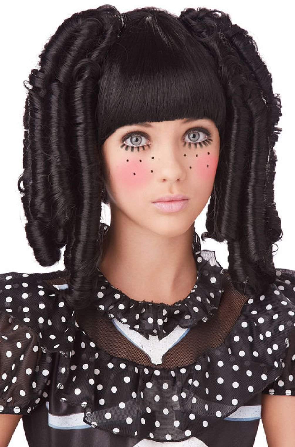 Baby Doll Curls With Bangs Halloween Costume Wig (Black)