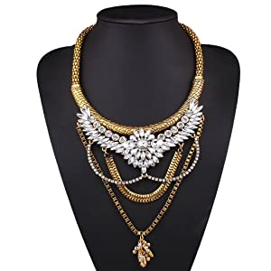 ARICO Multi Layer Necklace Anchor Silver Vintage Necklace Untique Gold Necklace Designs Crystal Resin Necklace Jewelry NE753