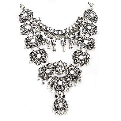 6b1995bf26e983 CrazyPiercing Vintage Boho Statement Necklace ... - Amazon.com