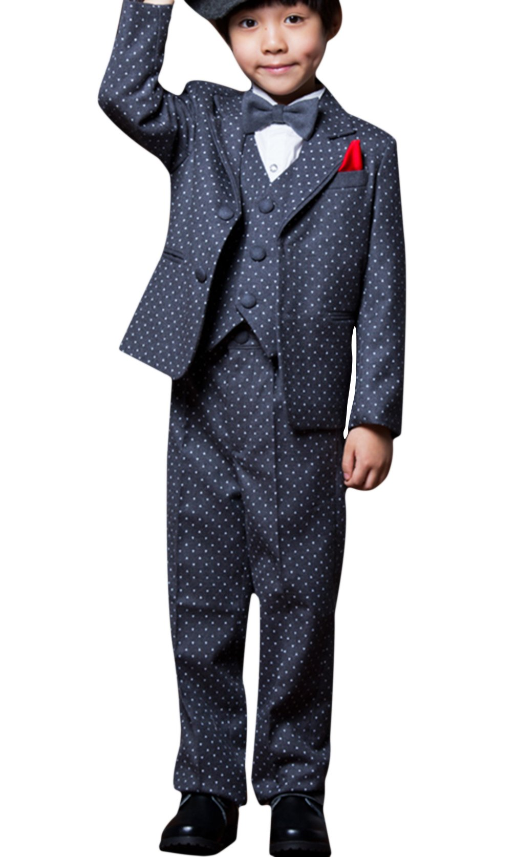 La Vogue Boys Formal 5 Piece Dress Suit Jacket Vest Shirt Pant and Bow S7 by La Vogue (Image #3)