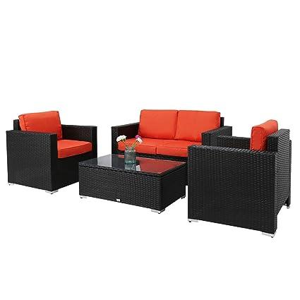 amazon com kinbor new 4 pcs black rattan patio outdoor furniture rh amazon com patio door furniture patio outdoor furniture covers