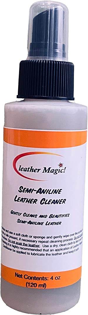 Leather Magic Semi Aniline Leather Cleaner. The Best Leather Cleaner for Furniture, Jackets, Purses & Bags. for use on All Semi-Aniline Finished Leather. (4 oz)