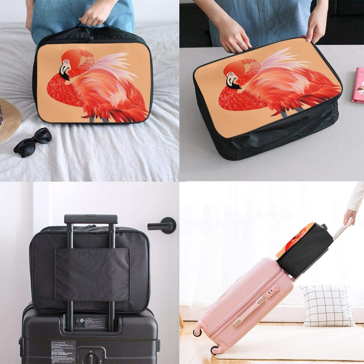 Yunshm Abstract Flamingo Vector Image Personalized Trolley Handbag Waterproof Unisex Large Capacity For Business Travel Storage