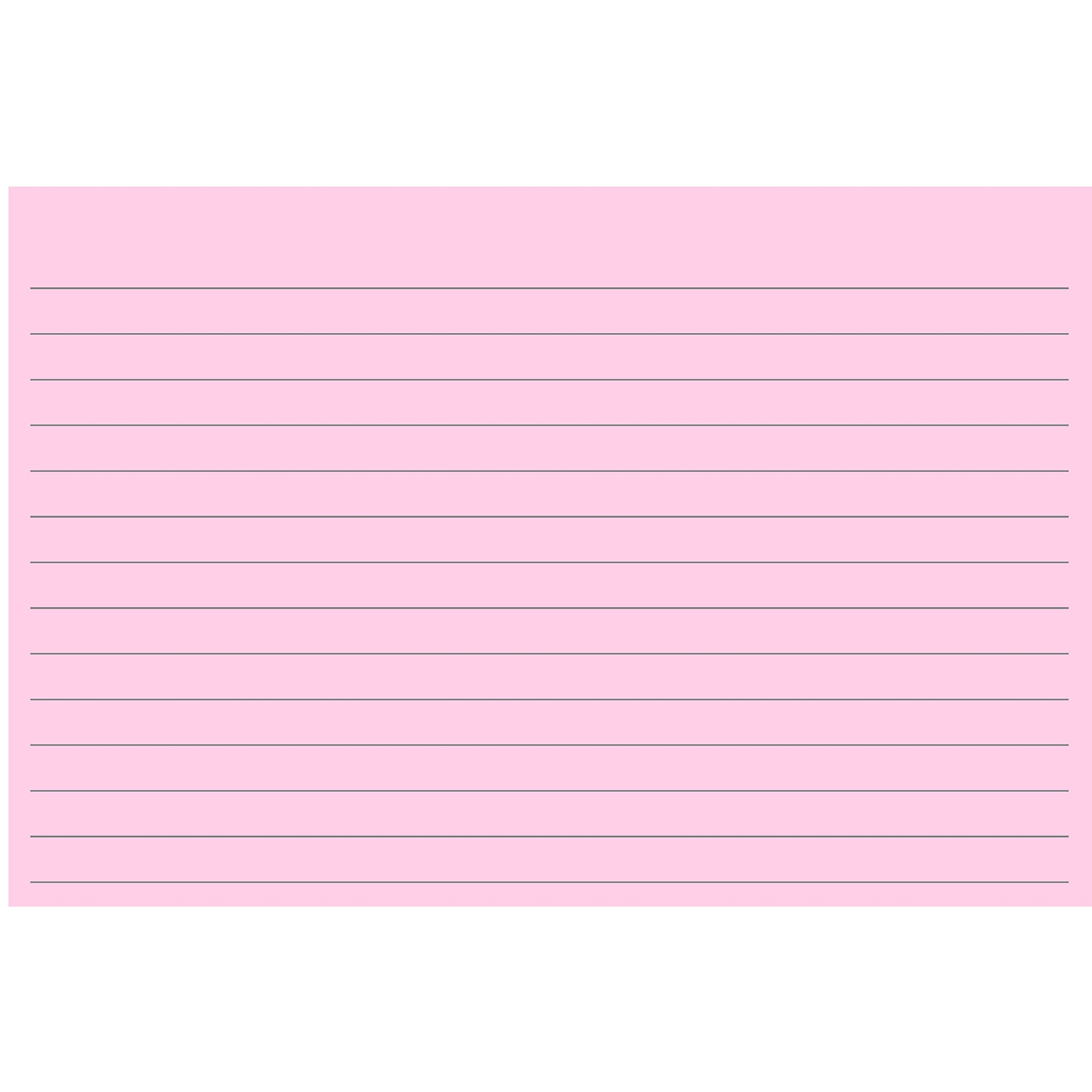 Colonial Cards: 100 Color Cardstock 4'' x 6'' Index Cards, Pink, Lined Landscape Format