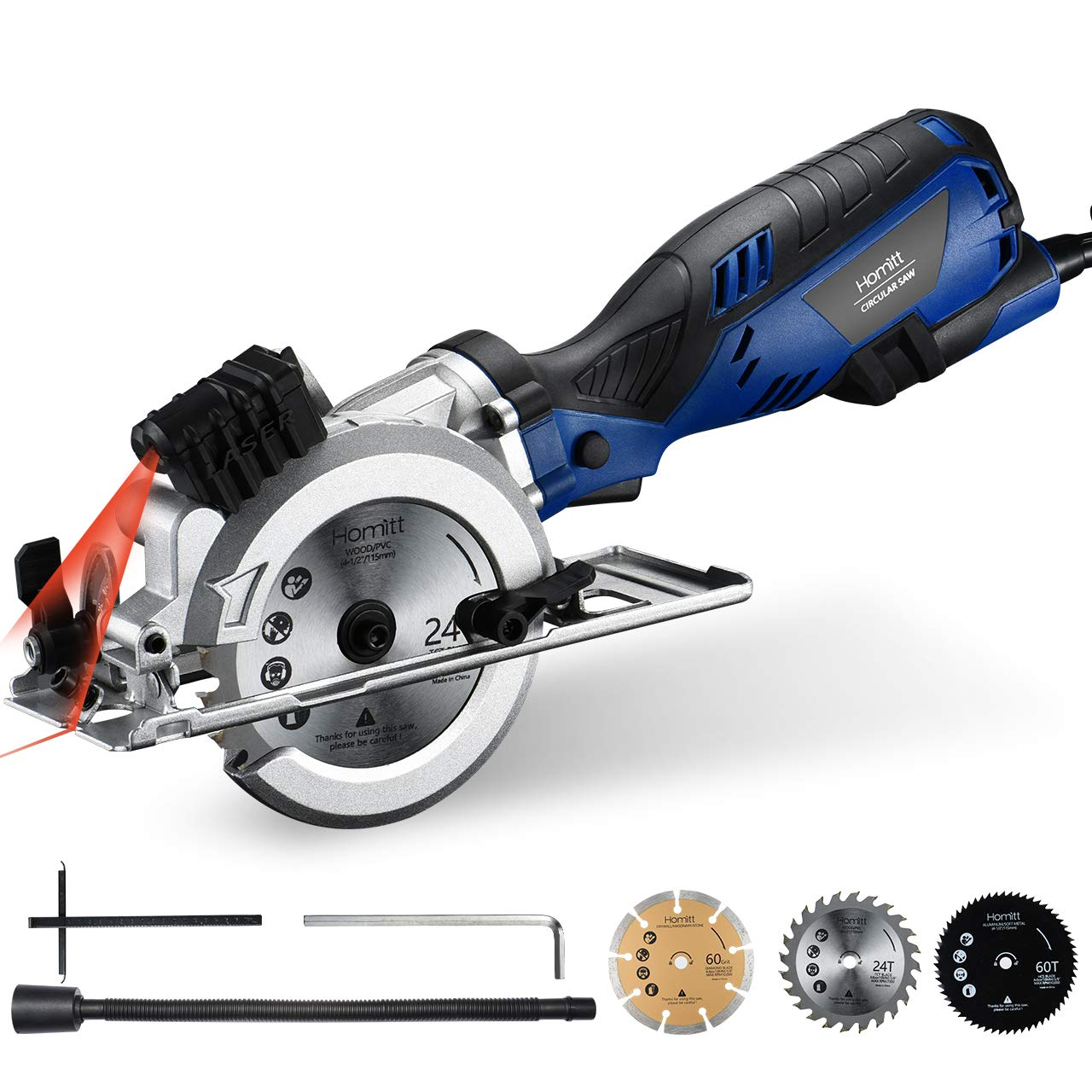 Circular Saw, Homitt Compact Saw with 3 Saw Blades(4-1/2''), Laser Guide, 5.8A 3500RPM, Max Cutting Depth 1-11/16''(90°), 1-1/8''(45°), Ideal for Wood, Soft Metal, PVC, Tile and Plastic Cuts