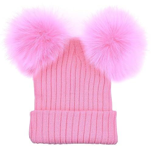 BOZEVON mujeres moda mantener caliente invierno sombreros de punto gorro de lana artificial Hemming?Linda oreja de Mickey Mouse