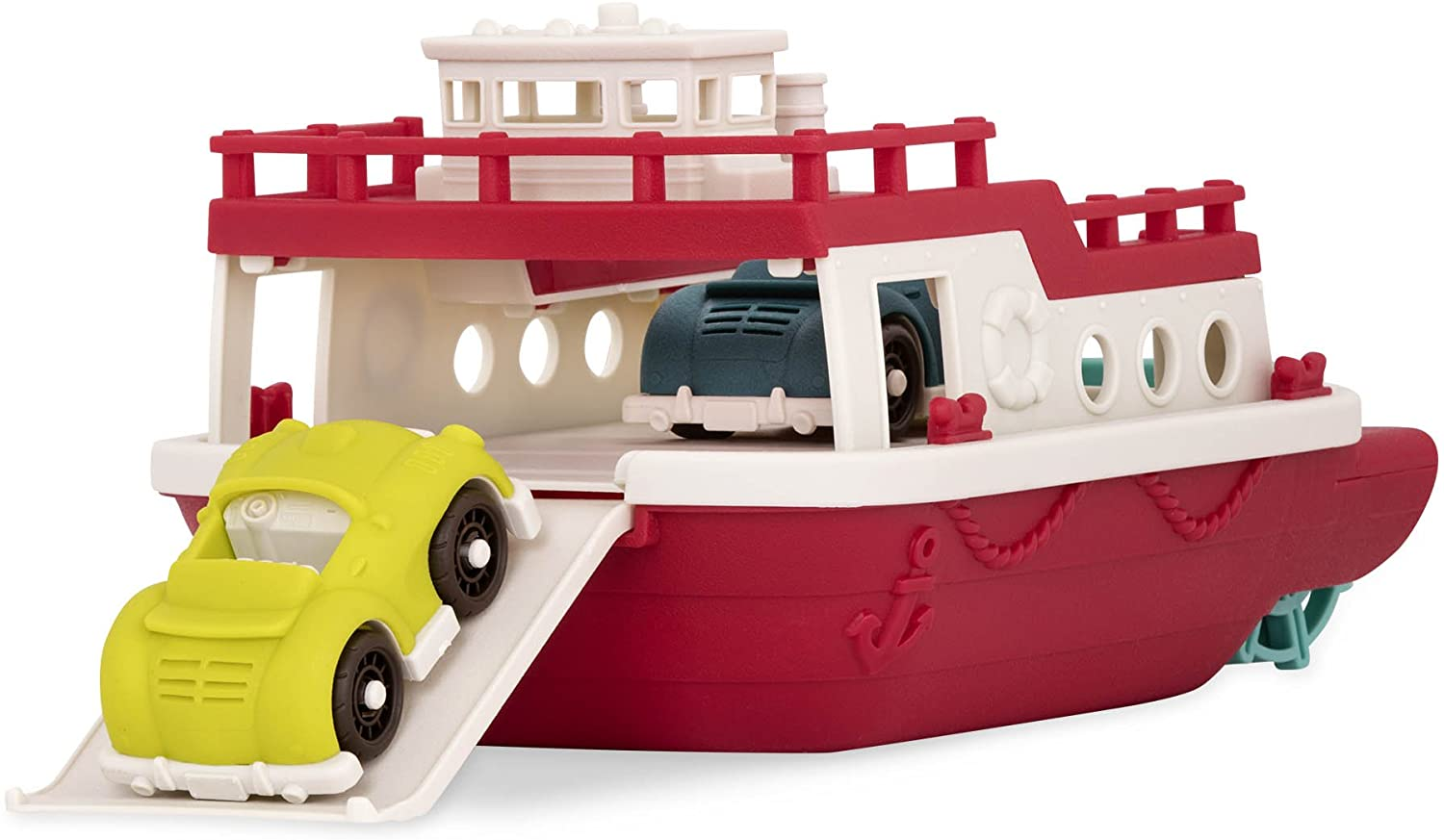 Wonder Wheels by Battat – Ferry Boat – Floating Bath Toy Boat with Cars For Toddlers Age 1 & Up (3 Pc).
