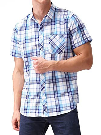 4d170b77 Hopioneer Men's Button Down Short-Sleeve Shirt with Pocket Regular-Fit Plaid  Checked (