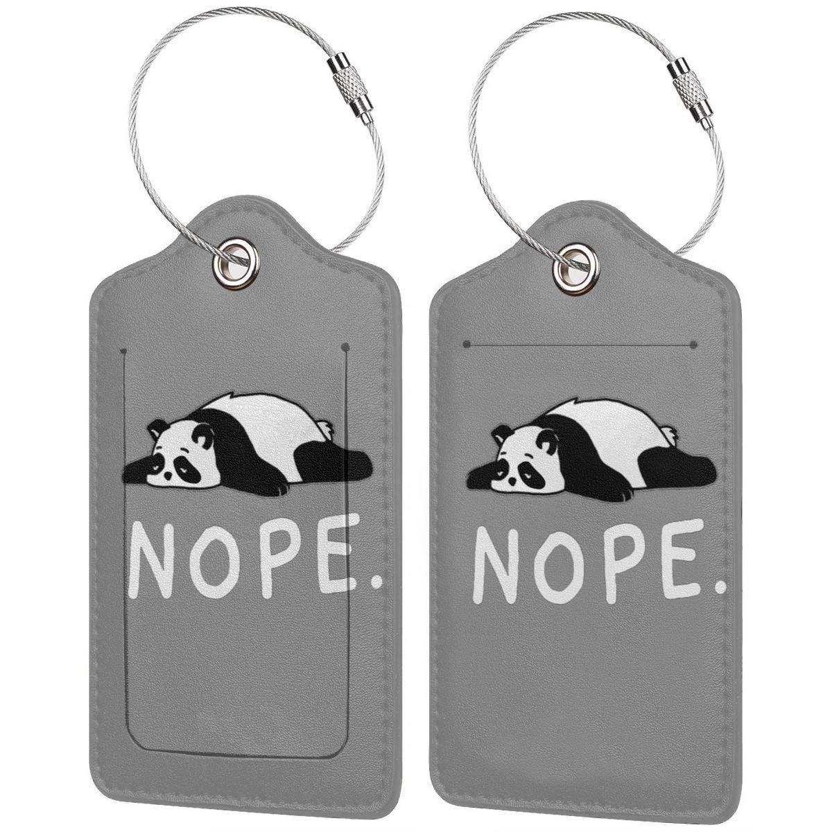 1pcs,2pcs,4pcs Nope Lazy Panda Pu Leather Double Sides Print Luggage Tag Mutilple Packs