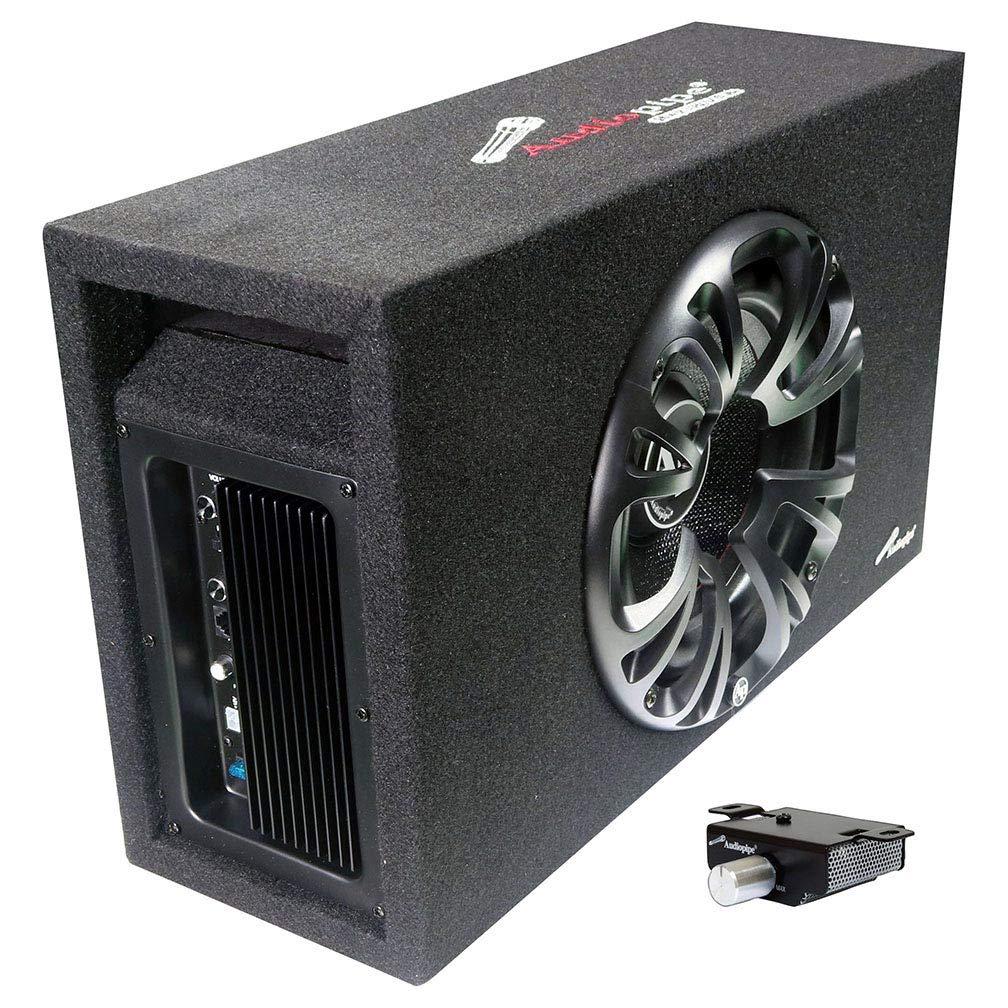 Audiopipe Single 10'' Amplified Ported Bass Enclosure 1200 Watts by Audiopipe