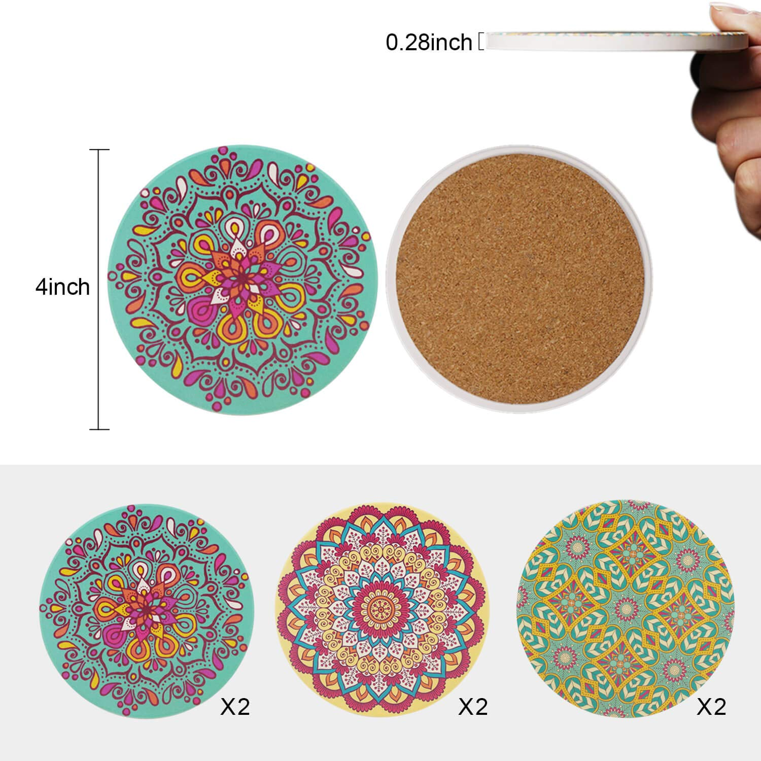 heat resistant,Unique Design Patterns,Mandala Style Coffipa Absorbent Ceramic Stone Coasters Set of 6 with Cork Base for Drinks Spill