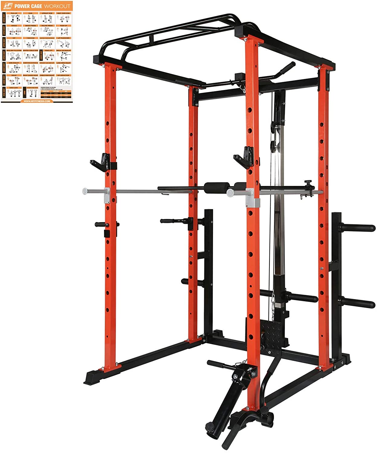 RitFit Power Cage with LAT Pull Down and 360° Landmine, 1000LB Capacity Power Rack Full Home Gym for Weightlifting, Come with J-Cups,Dip Bars and Other Attachments