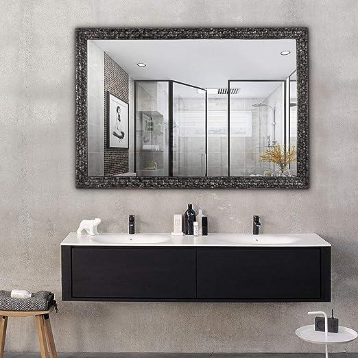 Hans&Alice Beveled Bathroom Mirrors Wall Mounted, Antique Black Frame  Mirror for Bathroom, Bedroom, Living Room Hanging Horizontal or Vertical ...