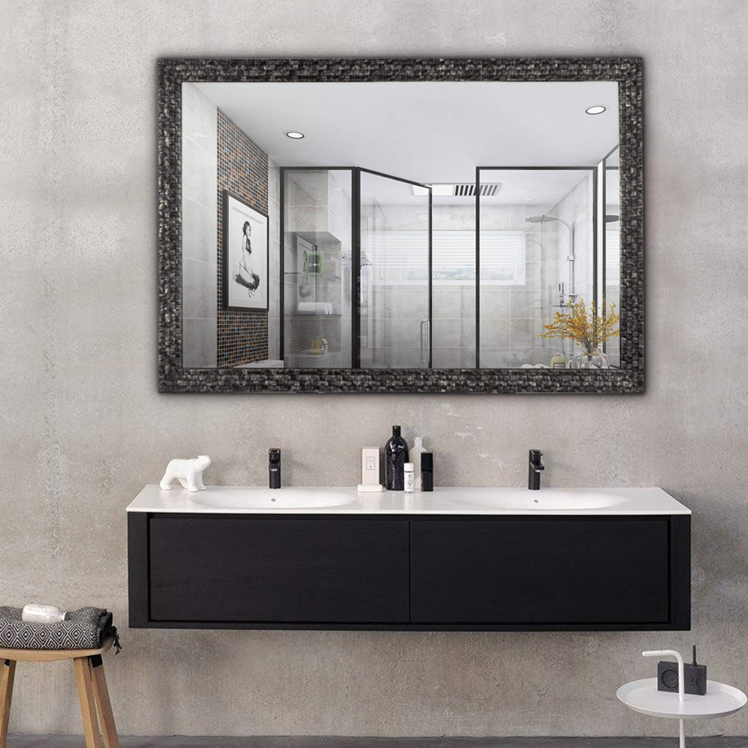 Hans&Alice Beveled Bathroom Mirrors Wall Mounted, Modern Framed Mirror for  Bathroom, Bedroom, Living Room Hanging Horizontal or Vertical Commercial ...
