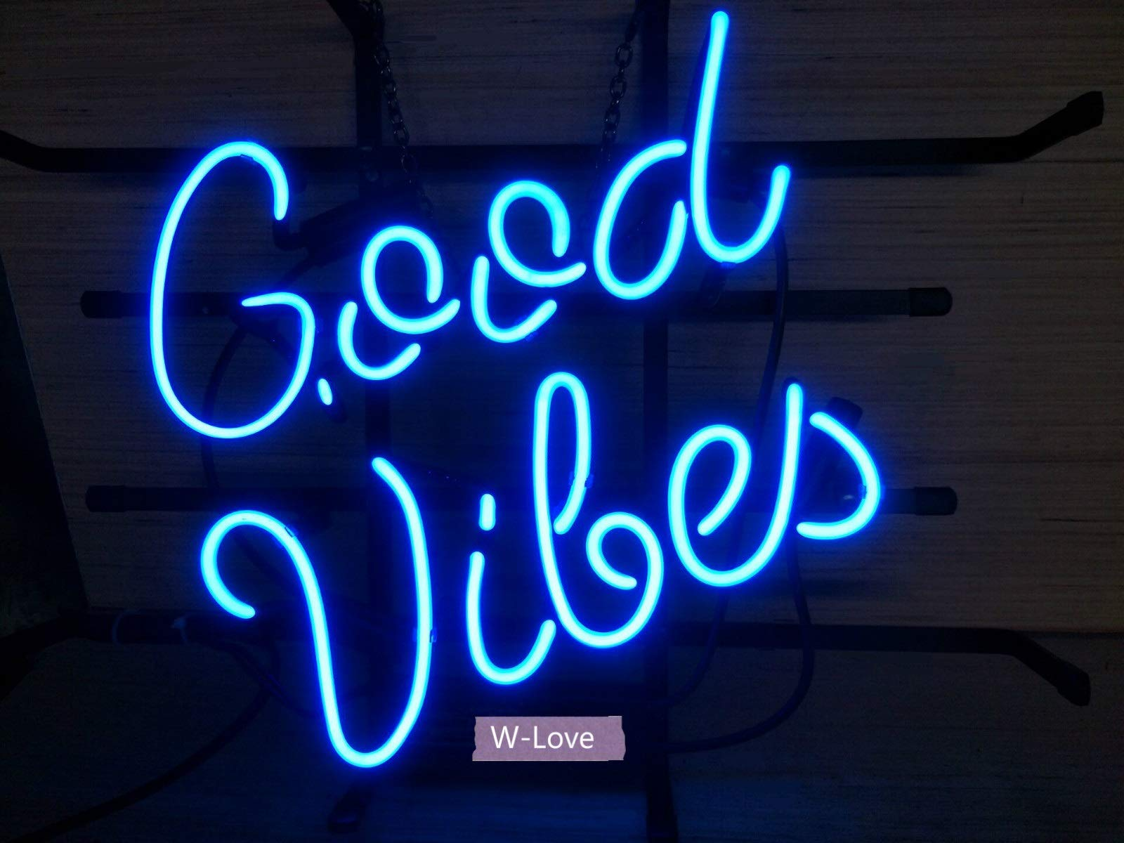 Mirsne Good Vibes 17'' by 14'' Neon Signs, Glass Tube neon Sign, Custom Made neon Beer Sign, Unique Bar Signs, Supplied for a Wide Range of Personal uses