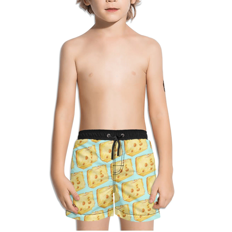 Ouxioaz Boys Swim Trunk Cheese Pattern Art Print Beach Board Shorts