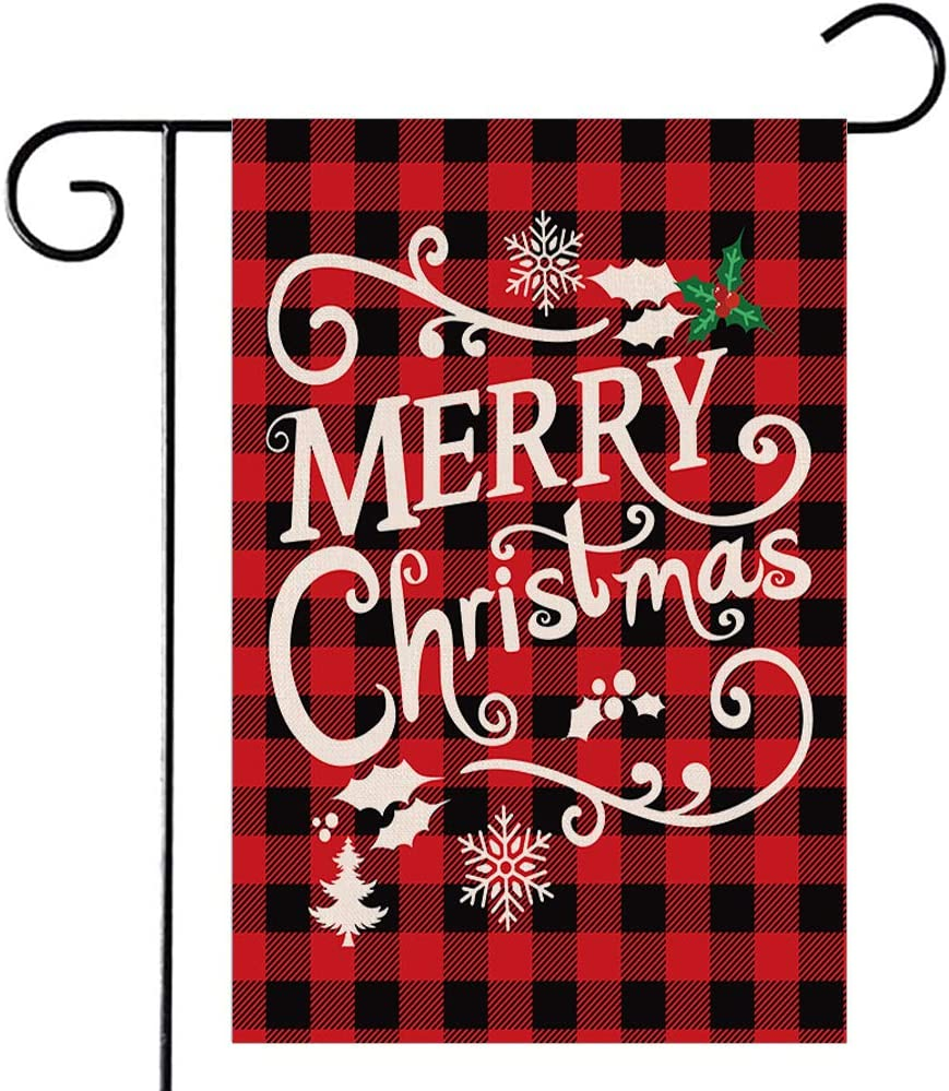 Disheen Merry Christmas Garden Flags 12X18 Double Sided, Buffalo Plaid Christmas Decorations Outdoor, Farmhouse Yard Flag Christmas Decor for Garden Yard Lawn House